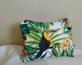 Bag case tropical toucan foliage flowers