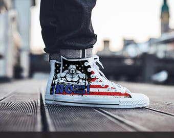 No pain gain USA high top canvas shoes