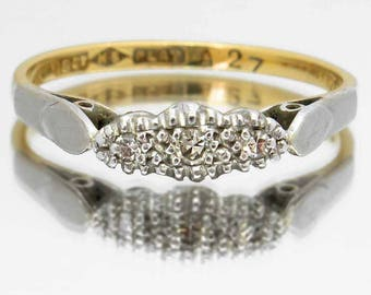 Vintage Ring With Three Diamonds In 18ct Gold & Platinum, Trilogy Engagement Ring, Free Worldwide Shipping