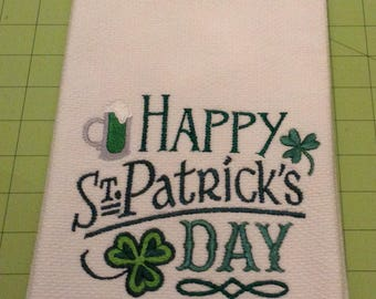 HAPPY St. Patrick's Day! Embroidered Williams-Sonoma Kitchen Towel, Made in Turkey, Extra Large
