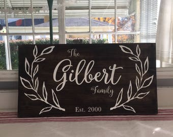 """Custom Personalized Family name sign, Family Established Sign, Wedding Sign, Established Date Sign, Anniversary Sign 18"""" x 9"""""""