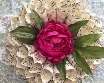 Spring Wreath - Easter - wedding gift - Paper Wreath - sheet music wreath - book page decor - flower wreath - rustic wedding decor