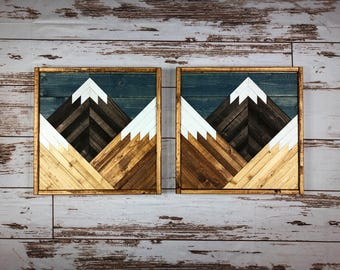 Stained Mountain Tops Set Of 2. Reclaimed Wood Wall Art. Wood Wall Art. Mountain Wood Wall Art. Handmade Mountains. Rustic mountains