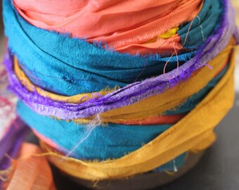 10 Yards Recycled Sari Silk Ribbons, Craft, Jewerly Supplies