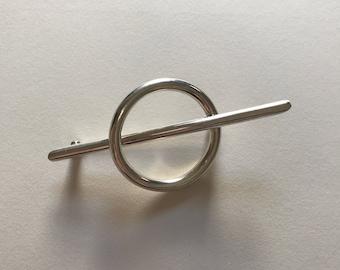 Vintage Large 925 Sterling Silver Circle Cross Brooch