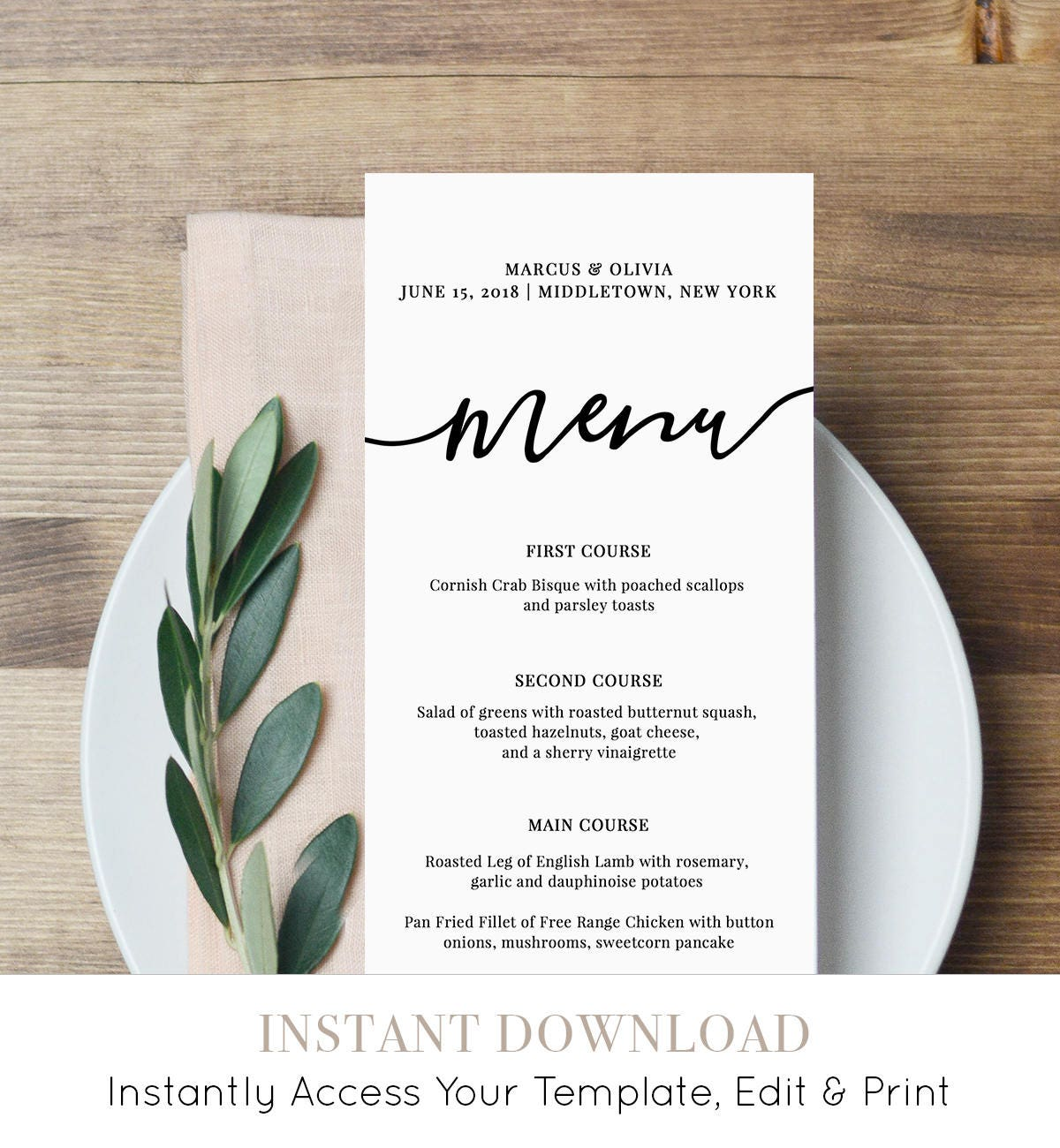 Menu card template printable wedding menu modern calligraphy for Wedding menu cards templates for free