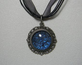 Midnight Blue magnifying glass Locket necklace