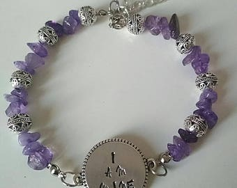 Amethyst gemstone beaded bracelet with I am mine tag