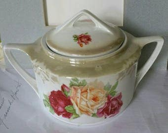 """Beautiful Vintage """"Altenburg China Germany"""" Art Deco style hand painted Roses design Porcelain canister stamped"""