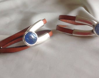 Bracelet 5mm x 2 burnt orange leather