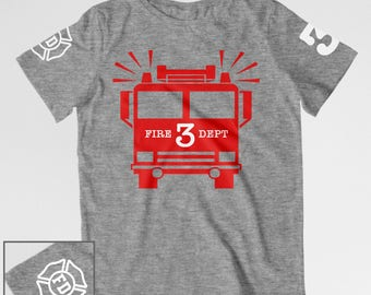 Firetruck birthday shirt for Mom Dad fire truck birthday shirt adult birthday firetruck t-shirt