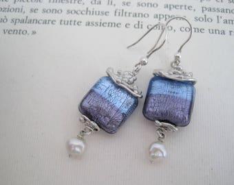 """Venetian glass with pearl drop earrings """"Calar della sera"""""""