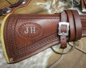 Custom Lather Rifle Scabbard with Shoulder Strap / Bandoleer.