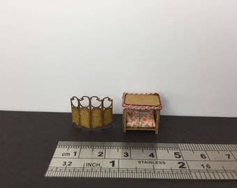 Miniature 1/144th scale 144 scale bedroom furniture set, 4 poster bed and screen