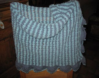 SCARF fall scarf TURQUOISE gray striped