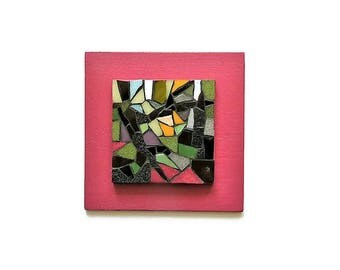 Small pink and green mosaic table