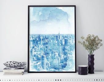 Tokyo City Skyline Watercolour Print Wall Art | 4x6 5x7 A4 A3 A2