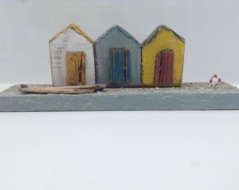 276 -Beach huts    wood beach huts    little wood houses  nautical wood art