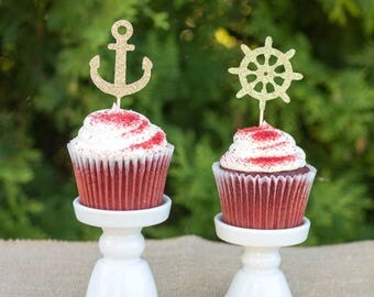 Ahoy its a boy   Nautical party   Nautical cupcake toppers   Anchor cupcake toppers   First birthday   Baby shower cupcake toppers
