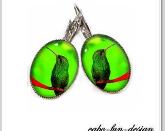 Hummingbird earrings cabochon jewelry green HUMMINGBIRD green 13 x 18 mm