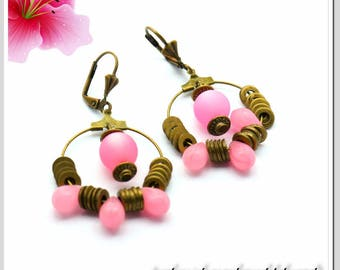 Hoop earrings earrings bronze pink drops and Polaris Art.Nr.: CRE-BRO-002