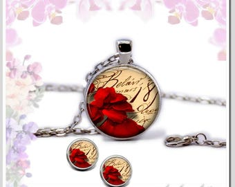 Necklace Earrings Red rose petals Set-SB25-006