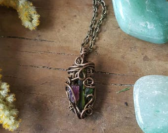 Gift for her // Handmade jewelry // Tara -- Triple Tourmaline in Antique Brass Wire Pendant Necklace / rubellite & Verdelite