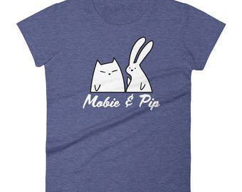 Mobie and Pip - Bunny and Cat Women's fitted t-shirt