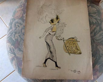 Antique Original Ink and Watercolor Fashion Drawing, Paris, Signed