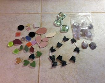 Vintage Lot of Tiles and Stone Beads for Crafting