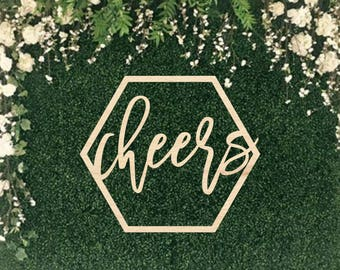 Cheers Wood Sign || wedding wooden sign word photobooth wedding word sign bubbly bar sign cheers sign bar decor baby shower  03-002-024