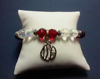 Delta Sigma Theta beaded charm bracelet
