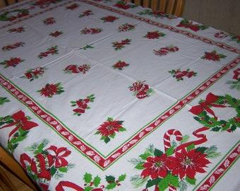 festive ,colorful vintage Christmas Tablecloth