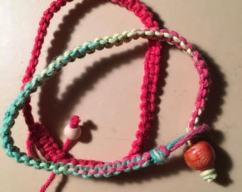 Rasta and red hemp bracelets