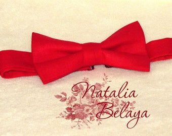 Bowtie. Pre tied adjustable Bow tie.  Red Cotton Bow tie. Bow tie for men and women. Birthday gift. Baby shower gift.