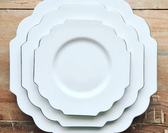 White Plastic Disposable Plates. Disposable White China. Rococo Scallop Collection. White Party Plates : white disposable plates - pezcame.com
