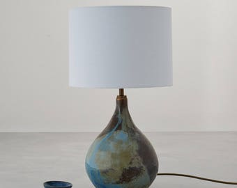 Handmade Lamp Stoneware Ceramic Floating Blue Green and Bronze Glaze with White Shade