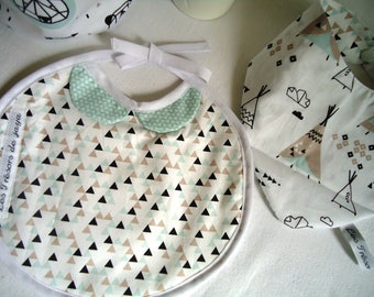 """Duo birth: """"classy"""" bib and reversible lightweight spring, teepees and triangles pattern"""