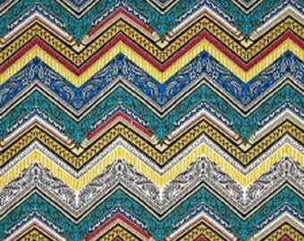 "FreeSpirit  Cotton Fabric ""Byzantium""  Zig Zag in Primary by Studio KM"