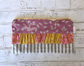 Lavender and Yellow Ruffle Zipper Pouch | Zipper Bag | Make-up Bag | Cosmetics Bag | Pencil Pouch | Pencil Bag | Clutch | Organize