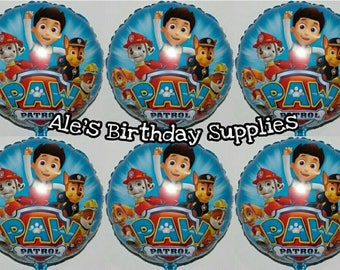 6 Pc Paw Patrol Balloons Party Birthday Supplies