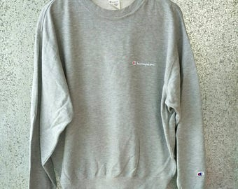 Vintage Champion sweatshirt small logo embroidered crewneck jumper x large size sweatshirt