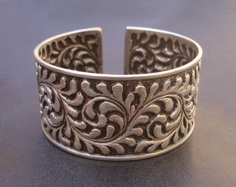 Vintage Bangle Indian Tribal Gypsy Old Silver Hand Crafted Statement Cuff Bracelet