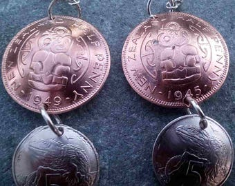 New Zealand 1/2 penny and 5 cent domed earrings