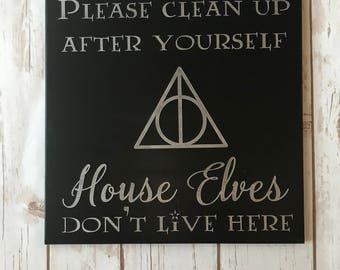 Hand Painted House Elves Sign / Harry Potter / Nerd Decor