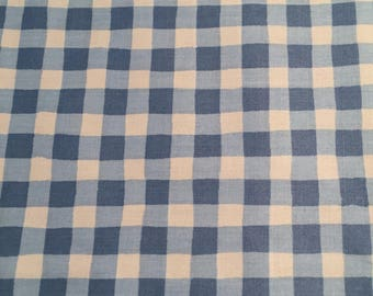 Light Blue Check Polished Cotton