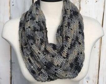 Infinity scarf, grey infinity scarf, gray infinity scarf, scarf, crochet scarf, crochet infinity scarf, greyscale scarf, grayscale scarf