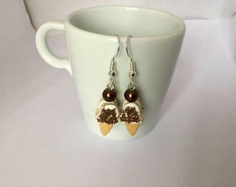 Ice cream fimo cookies earrings