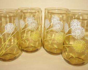 Vintage Dandelion Drinking Glasses - Set of 4