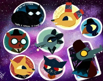 Night in the Woods Inspired Stickers, Mae, Astronomer, Longest Night, Gregg, Cute Stickers, Sticker Sheet, Lost Constellation